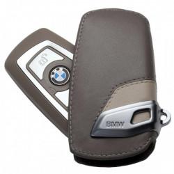 Husa protectie cheie originala BMW - Modern Line - piele maro / bej
