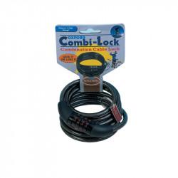Lacat combinatie cu cablu 1500mmx6mm, Negru