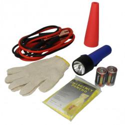 Set de prim-ajutor: cabluri curent auto, lanterna+2 baterii alimentare , manusi de lucru, jalon reflectorizant