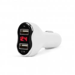 MNC - Adaptor de încărcare cu conectare la bricheta auto - 2 x USB, cu voltmetru şi ampermetru - alb