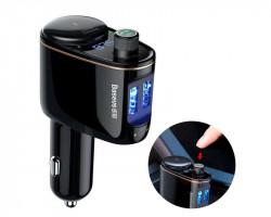 Modulator Fm Audio Bluetooth Mp3 Baseus Locomotive Dual Usb Negru