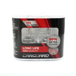 CARGUARD - Set de 2 becuri Halogen 24V - H4, 70W, +50% Intensitate - LONG LIFE