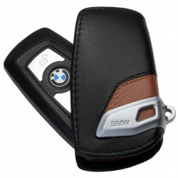 Husa protectie cheie originala BMW - Luxury Line - piele neagra / maro