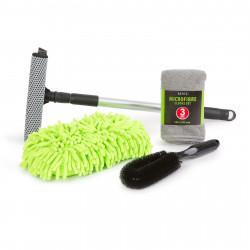 Set cosmetică auto - 3 lavete cu microfibre, racletă și burete pentru curățat jenți