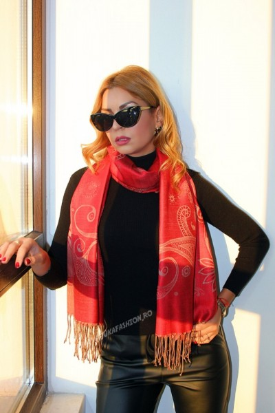 "*Sal Esarfa Pashmina ""Frangia"" Red by jukafashion.ro (2018)"