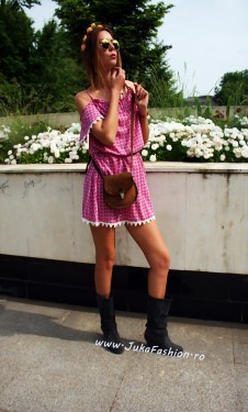 """Rochie  """"Hippie"""" Pink by JukaFashion.ro cod 75B"""