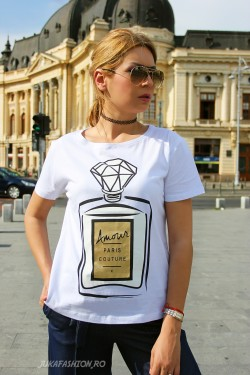 "Tricou ""Diamond"" White by JukaFashion.ro cod T5"