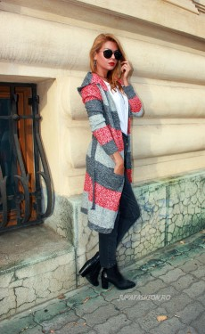 "Poze *Cardigan ""Fluffy Love"" Grey by JukaFashion.ro cod F01"
