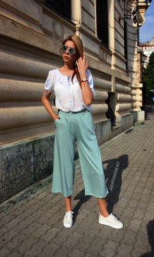 "*Pantaloni Dama ""Summer Mood"" Mint  by JukaFashion.ro cod H68"