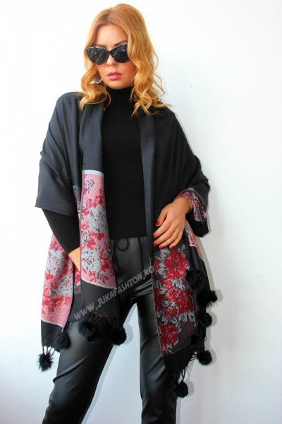 "*Sal Esarfa Pashmina ""Bloom"" Black by jukafashion.ro (2018)"