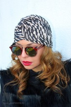 "Turban Dama ""Juka"" Black&White by JukaFashion.ro (2018)"