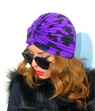"Turban Dama ""Juka"" BlacK&Violet by JukaFashion.ro (2018)"