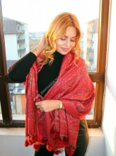 "*Sal Esarfa Pashmina ""Motivi"" Red by jukafashion.ro (2018)"