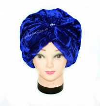 "*Turban Catifea Dama ""Jasmine"" Blue"
