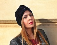"Turban Catifea Dama ""Juka"" Marine by JukaFashion.ro cod 0096"