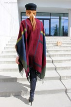 "Poncho Dama ""British"" Burgundy by JukaFashion.ro (2018)"