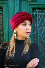 "*Turban Catifea Dama ""Velvet"" Burgundy by JukaFashion.ro (2018)"