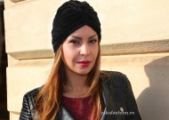 "Turban Catifea Dama ""Stripes"" Black by JukaFashion.ro cod 0099"
