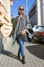 "Poncho Dama ""Hipster"" Black&Grey by JukaFashion.ro (2018)"