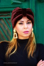 "*Turban Catifea Dama ""Velvet"" Maroon by JukaFashion.ro (2018)"