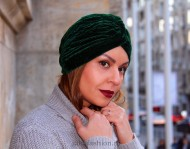 "Turban Catifea Dama ""Stripes"" Smarald by JukaFashion.ro cod 0094"