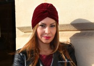 "Turban Catifea Dama ""Stripes"" Burgundy by JukaFashion.ro cod 0098"