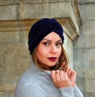 "Turban Catifea Dama ""Stripes"" Marine by JukaFashion.ro cod 0095"