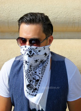 "Bandana Unisex ""Skull of Spades"" White by jukafashion"
