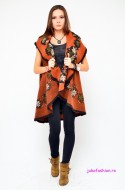"OFERTA PROMO : Cardigan 'Russian Kiss"" Dark Orange by JukaFashion.ro cod 01603"
