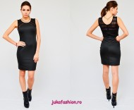 "Rochie Dama ""All Black"" by JukaFashion.ro cod 8007"
