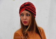 "Turban Dama ""Stripes"" Red&Black by JukaFashion.ro cod 0095"
