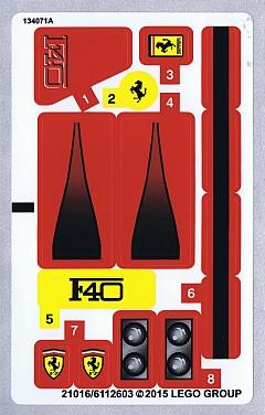 10248stk01 STICKER Ferrari F40 NIEUW *0S0000