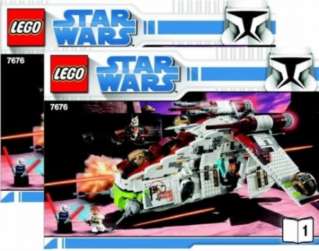 INS7676-G 7676 BOUWBESCHRIJVING- Star Wars:Republic Attack Gunship gebruikt *