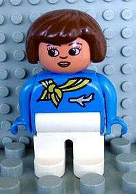 4555pb010 Duplo Figure, Female, White Legs, Blue Top with Scarf and Jet Airplane, Brown Hair, Turned Down Nose (Flight Attendant) *