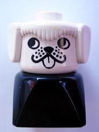 dupfig001r Duplo 2 x 2 x 2 Figure Brick Early, Dog on Black Base, White Head , looks Right *