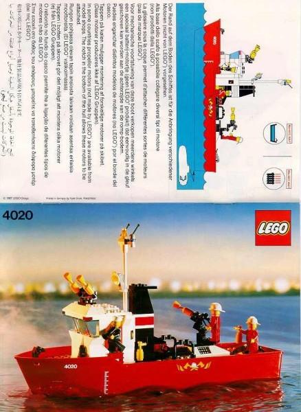 Set 4020 BOUWBESCHRIJVING- Brandweerboot gebruikt punchholes loc LOC M1
