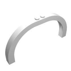 6184-1G Steen,halve boog 1x12x5 gebogen top 2 noppen bovenop wit gebruikt *1T000
