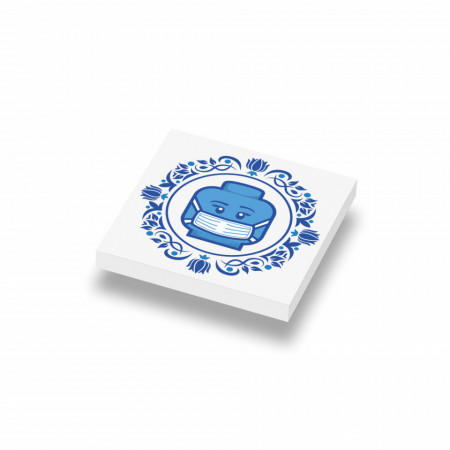 CUSE8145 Tegel 2x2 Delfts Blauw- Mondkapje wit *0A000