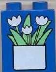 4066pb056-7G DUPLO steen 1x2x2 Pot met bloemen blauw gebruikt *