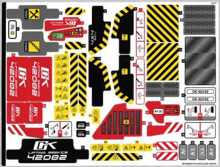 42082stk01 STICKER 42082 Rough Terrain Crane NIEUW *0S0000