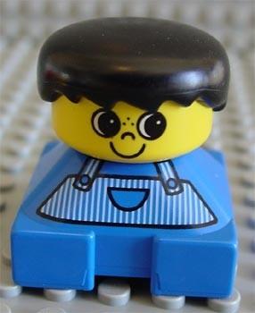 2327pb01 Duplo 2 x 2 x 2 Figure Brick, Blue Base, Striped Overalls, Black Hair, Large Eyes, Freckles on Nose *