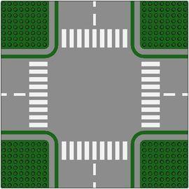 611p01-6 Wegenplaat 32x32 kruispunt GROEN!! 8 noppen zijkant Groen NIEUW loc