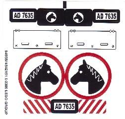 7635stk01 STICKER: Jeep met paardentrailer NIEUW *0S0000