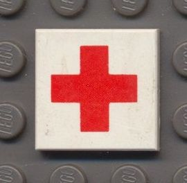 3068bp52-1G Tegel 2x2 Rode Kruis Wit gebruikt loc