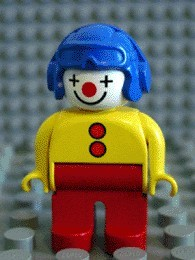 4555pb001 Duplo Figure, Male Clown, Red Legs, Yellow Top with 2 Buttons, Yellow Arms, Blue Aviator Helmet *