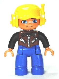 47394pb157 Duplo Figure Lego Ville, Male, Blue Legs, Brown Vest with Zipper and Zippered Pockets, Yellow Cap with Headset loc