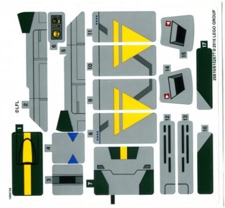 75150stk01 STICKER 75150 Vader's TIE advanced vs. A-Wing fighter NIEUW *0S0000