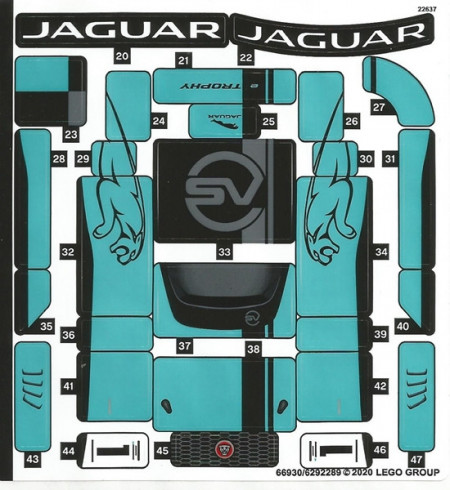 76898stk01-2 STICKER 76898-2 Formula E Panasonic Jaguar GEN2 & Jaguar I-PACE e-Trophy NIEUW *0S0000