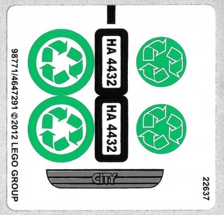 4432stk01 STICKER Garbage Truck NIEUW *0S0000
