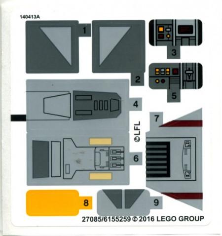 75158stk01 STICKER 75158 Rebel Combat Fighter NIEUW *0S0000